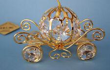 made with SWAROVSKI CRYSTAL ELEMENTS CINDERELLA COACH FIGURINE 24KT GOLD PLATED