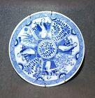 Antique Japanese Flo Flow Blue and White Porcelain Plate Vintage Signed NICE
