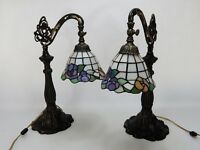 2 Tiffany Style Lily Pad Table Lamps