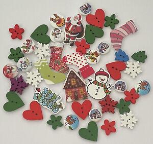 44 Wooden Christmas Theme Novelty Button Mix Bulk Lot Aussie Seller