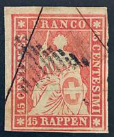 Swiss 1854 15r, Seated Helvetia Scott #17, four margin clear frame line, CV $190