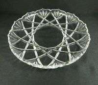 "Vintage Pressed Glass Round Serving Tray 12.5"" Crossed Bamboo Leaves"