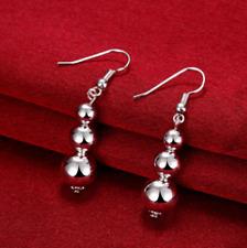 Womens 925 Sterling Silver Beads Ball 45mm Long Drop Dangle Charm Earrings #E75