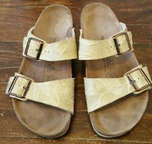 Pale Green Birki's Birkenstock Two Strap Slides Slip-on Sandals Size 41