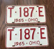 """1965 Ohio License Plates Pair """"T-187-E"""""""