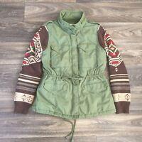 Ralph Lauren Womens L Denim & Supply Jacket Green Military Southwestern Sleeve