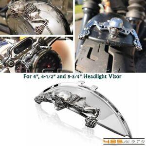 Skull Skeleton 5.75'' Headlight Visor Ornament & Headlamp Ring Emblem For Harley