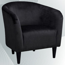 Mainstays Microfiber Tub Accent Chair, Black, Comfortable, Living room