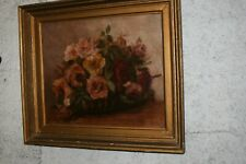 huile sur toile huile ancienne nature morte roses , fleurs en corbeille