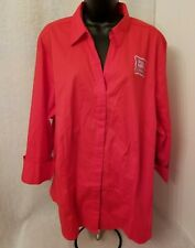 Riders by Lee NWT Women Red Button Down Shirt Top Blouse Size 2X