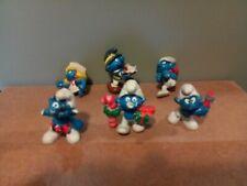 Vintage 80's Smurf  Lot Figures Schleich Peyo  6 Figurines ( Damaged )