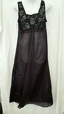 ANTHONY RICHARDS ANKLE LENGTH SEXY BLACK  NYLON NIGHTGOWN SIZE 1X