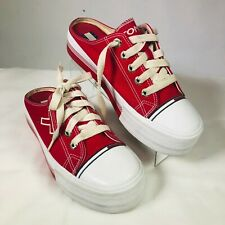 WOMENS SZ 9 - Tommy Hilfiger, Open Back Sneakers Red/White Slip On 5 eye Lace Up