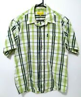 Jeep Outdoor Mens Shirt Size M Green Check Short Sleeve Button Up Front Pocket