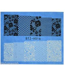 Nail Art Wassertransfer Sticker Aufkleber weiß schwarz Blumen Spitze