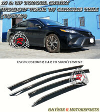 Window Rain Guard Visors (Tinted) with Chrome Trim Fits 18-Up Toyota Camry