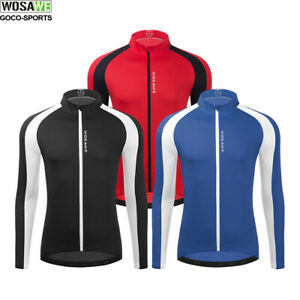 Men's Cycling Jersey Bike Clothing Long Sleeve Shirt Cycle Running Top M-3XL