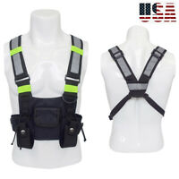 Tactical Harness Radio Chest Front Pack Bag Holster Vest Rig Walkie Talkie Radio