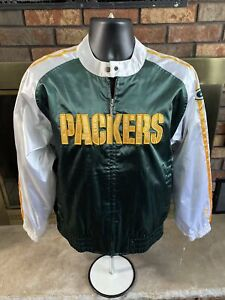 Green Bay Packers NFL Football Satin Full Zip Jacket Youth Size XL Reebok NWT