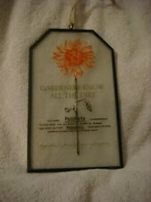 Glass Garden Plaque orange flower (Gardeners Know All The Dirt)