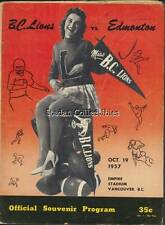 Vintage CFL Program  Edmonton Eskimos @ B.C. Lions  Oct. 19 1957 -John Bright