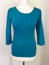 Women's/ Girls  Long Sleeve Bodycon Basic Jersey Top, Aqua Blue  Size 8