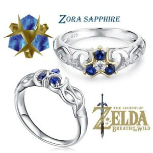 The Legend of Zelda Zora Sapphire Ocarina of Time 925 Sterling Engagement Ring