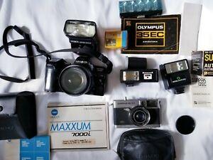 Vintage Camera And Accessories Lot Minolta 7000i, Olympus 35EC