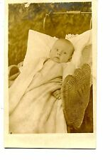 Pretty Baby-Tiny Ring-Wicker Stroller-Carriage-RPPC-Vintage Real Photo Postcard