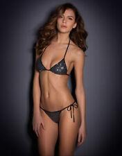 Agent Provocateur ZONIA Bikini L/4 NWT Black & Silver Orig. $450