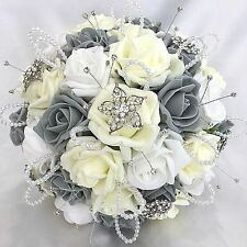 BRIDES POSY BOUQUET, LEMON, WHITE & GREY ROSES,  ARTIFICIAL WEDDING FLOWERS