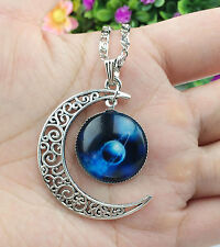Colorful Galaxy Glass Hollow Moon Shape Pendant Silver Tone Necklace!