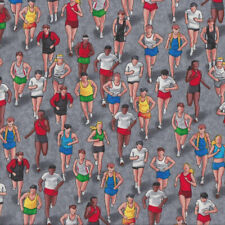 Triathlon People Running on Grey Exercise Runners Sport Quilt Fabric FQ or Metre
