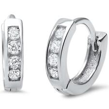 Small Baby CZ .925 Sterling Silver Hoop Huggie Earrings