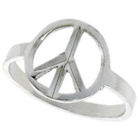 """Sterling Silver Peace Sign Ladies Ring High Polished Finish 1/2"""" wide"""
