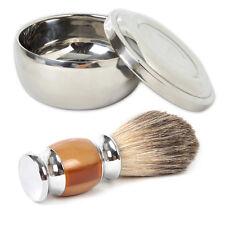 Men Resin Badger Wet Shaving Brush + Steel Metal Mug Bowl Set Barber Tool