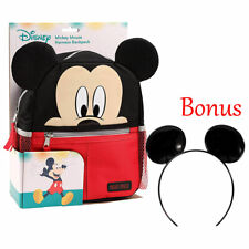 Disney Baby Mickey Mouse Backpack Safety Harness Toddlers Kid Bag + Ear Headband