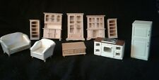 LOT of 10 Vintage WOODEN Miniature DOLLHOUSE FURNITURE
