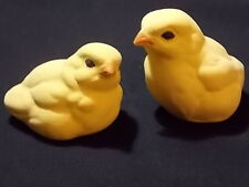 "2 Vintage Easter Chicks-Life size Chickens Country Decor-Brush Ceramic 2"" x 2.5"""