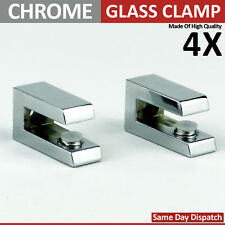 4 ADJUSTABLE GLASS  CHROME MIRROR EFFECT SHELF SUPPORT CLAMP BRACKETS 4 To 8 mm