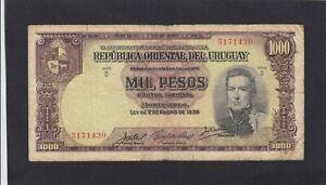 Uruguay 1000 Pesos L.1939 P-41c    VG