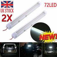 2x 12V 72 LED Car Interior White Strip Lights Bar Lamp Car Van Caravan Boat Home