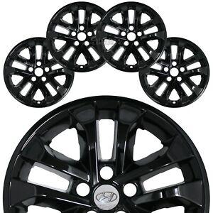 "4 fits Hyundai Sante Fe SE 2019-2021 Black 17"" Wheel Skins Hub Caps Rim Covers"