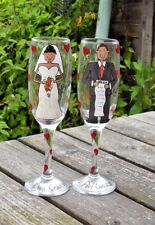personalised hand painted bespoke bride and groom wedding gift favour glasses