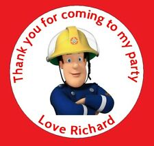 24 x Personalised Fireman Sam Birthday Party Thank You Sweet Cone Stickers Seals