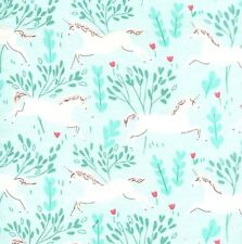 Fabric Unicorn White in Forest on Aqua Flannel by the 1/4 yard