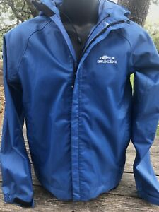 Men's GRUNDENS Waterproof RAIN Fishing JACKET Bright Blue SMALL Excellent Cond.