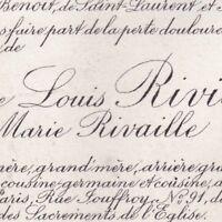 Marie Rivaille Louis Rivière Economiste 91 Rue Jouffroy Paris 5 Janvier 1920