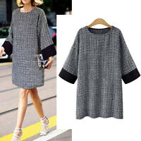 Womens Casual Knit Sweater Dress Tunic 3/4 Sleeve AU Size 14 16 18 20 22 24 5081