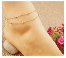Girl Stylish Dual chain Golden anklet